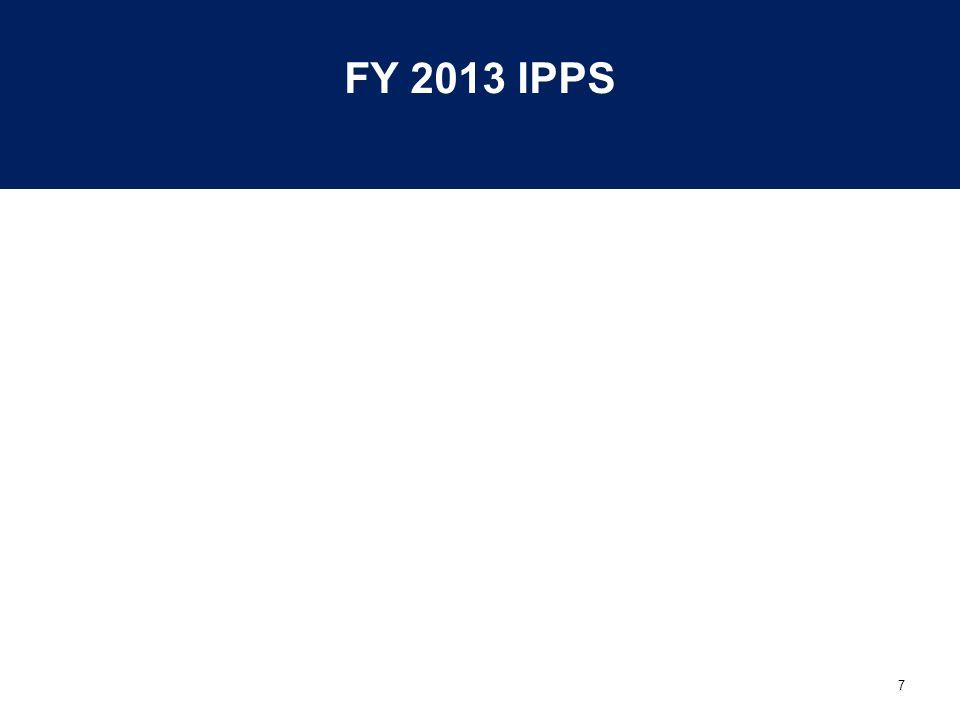 8 IPPS FY 2013  Posted August 1 st  Copy at  www.ofr.gov/inspection.asp  Published in Federal Register on August 31  Tables on CMS website only  Becomes effective October 1 st 2012