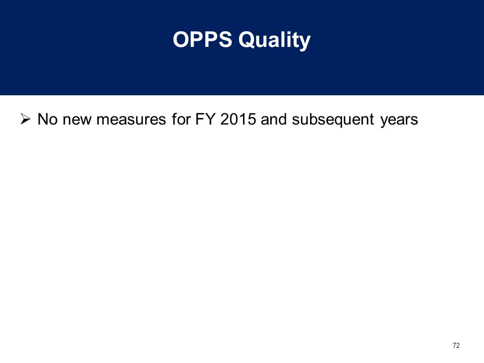 72 OPPS Quality  No new measures for FY 2015 and subsequent years