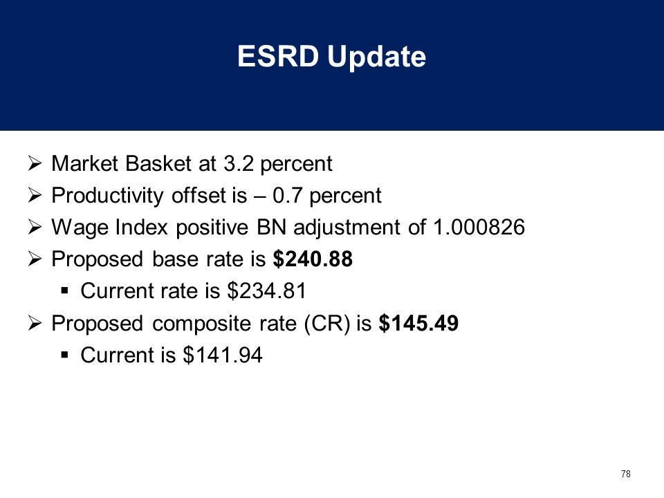 78 ESRD Update  Market Basket at 3.2 percent  Productivity offset is – 0.7 percent  Wage Index positive BN adjustment of 1.000826  Proposed base r