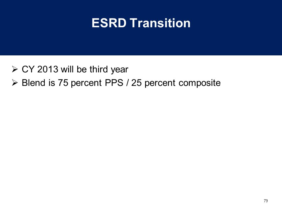 79 ESRD Transition  CY 2013 will be third year  Blend is 75 percent PPS / 25 percent composite