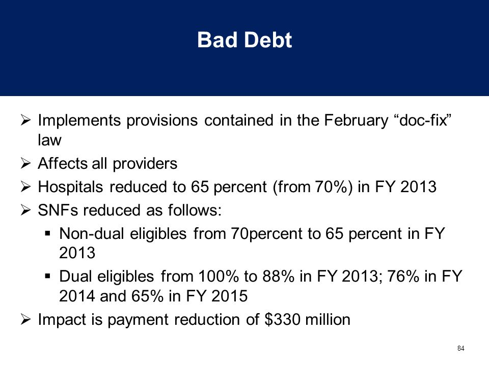 """84 Bad Debt  Implements provisions contained in the February """"doc-fix"""" law  Affects all providers  Hospitals reduced to 65 percent (from 70%) in FY"""