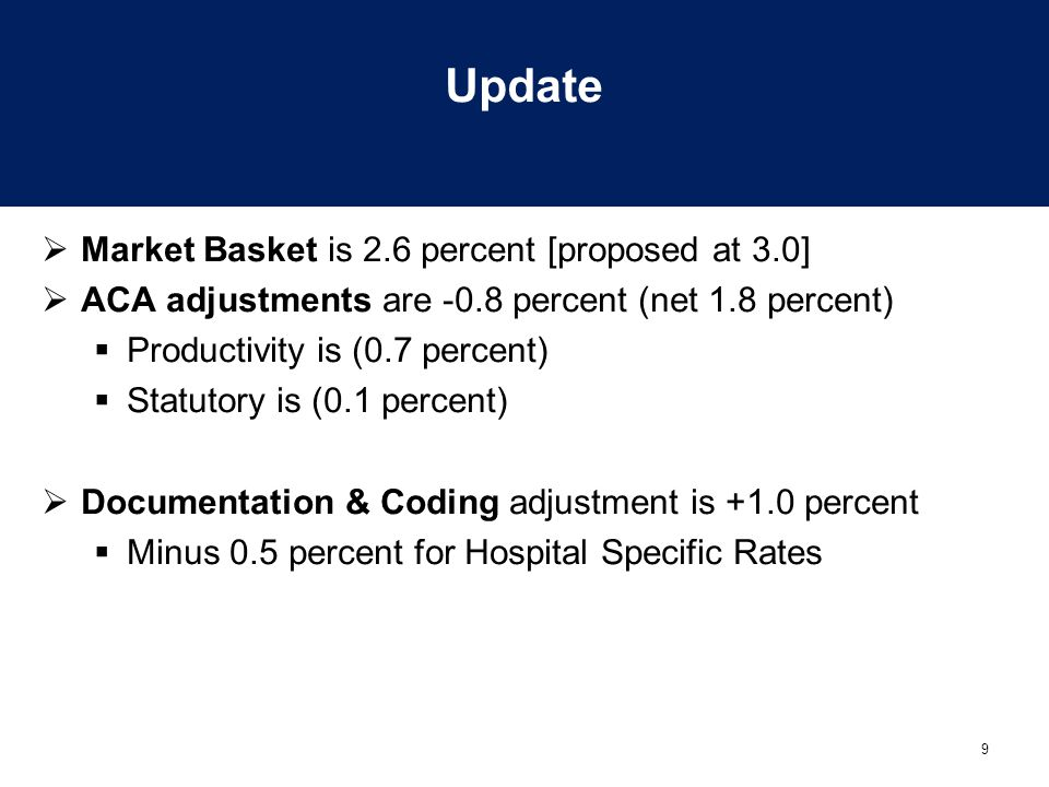 10 Update  Other adjustments:  VBP (1.0 percent now, but budget neutral)  Readmits – (0.3 percent) CMS estimate  Rural demo – (0.001 percent)  PPS excluded hospitals to receive 2.6 percent increase