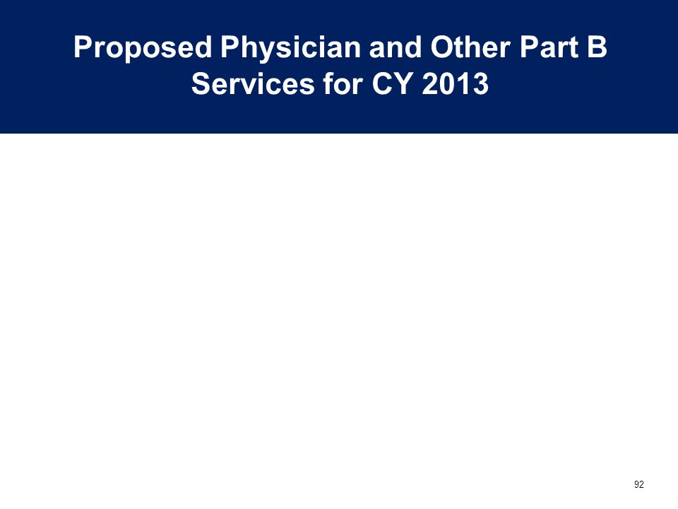 92 Proposed Physician and Other Part B Services for CY 2013