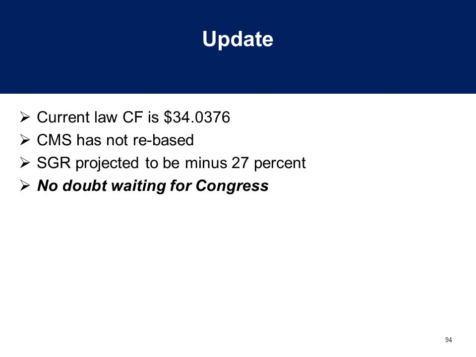 94 Update  Current law CF is $34.0376  CMS has not re-based  SGR projected to be minus 27 percent  No doubt waiting for Congress
