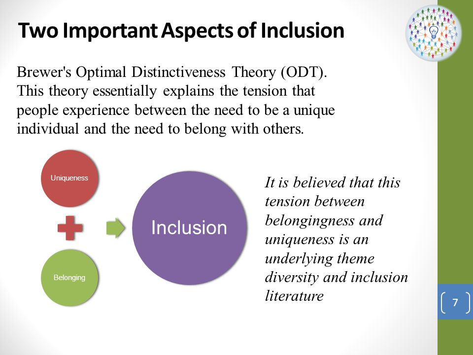 Brewer s Optimal Distinctiveness Framework Low Belongingness High belongingness High value in uniqueness Differentiation:Inclusion: Individual is not treated as an organizational insider in the work group but their unique characteristics are seen as valuable and required for group/ organization success.