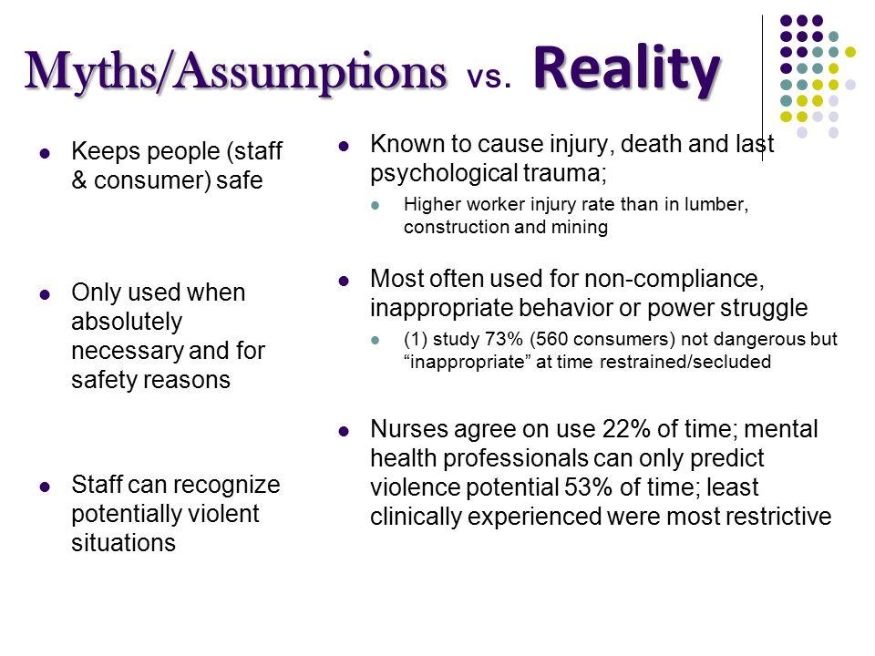 Myths/Assumptions Reality Myths/Assumptions vs.