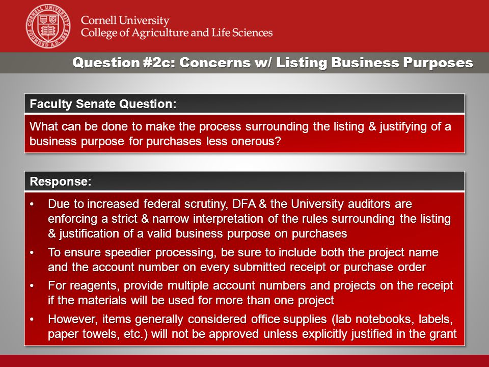 Question #2c: Concerns w/ Listing Business Purposes