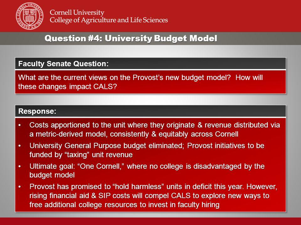 Question #4: University Budget Model