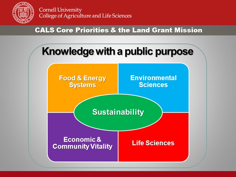 Food & Energy Systems Environmental Sciences Economic & Community Vitality Life Sciences Sustainability Knowledge with a public purpose CALS Core Priorities & the Land Grant Mission