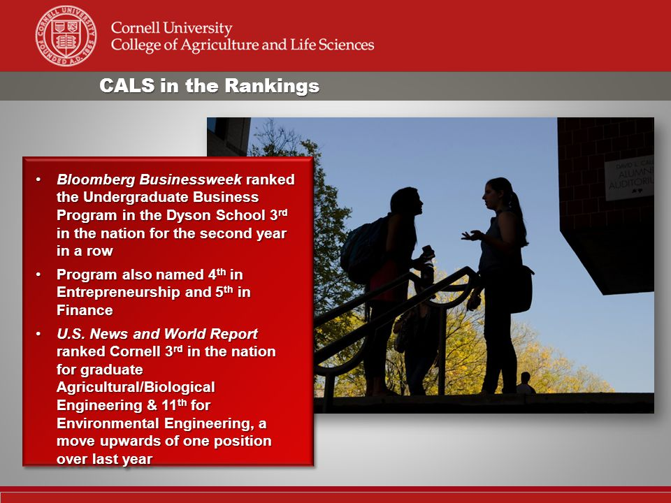 CALS in the Rankings Bloomberg Businessweek ranked the Undergraduate Business Program in the Dyson School 3 rd in the nation for the second year in a