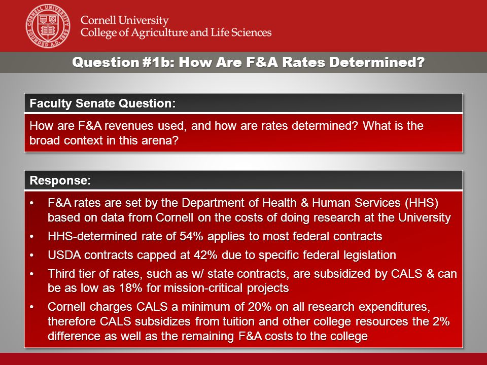 Question #1b: How Are F&A Rates Determined?