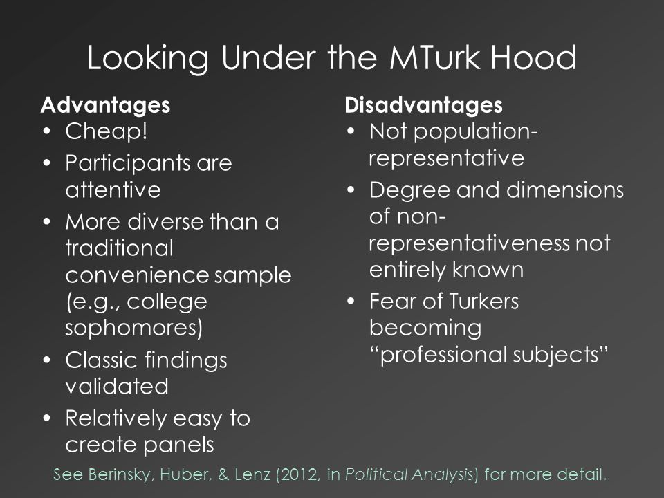 Looking Under the MTurk Hood Advantages Cheap! Participants are attentive More diverse than a traditional convenience sample (e.g., college sophomores