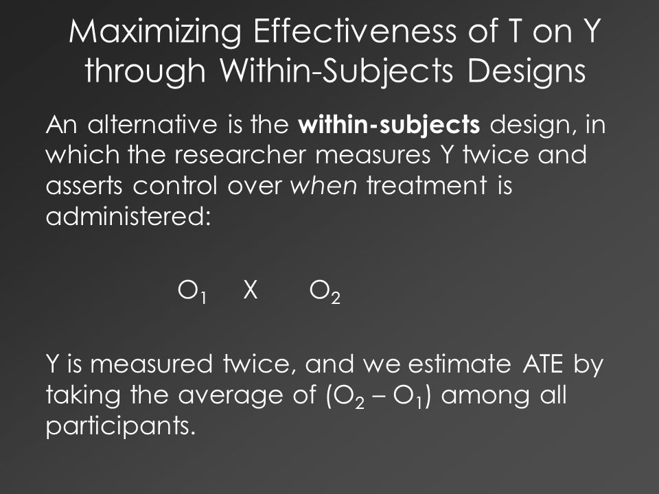 Maximizing Effectiveness of T on Y through Within-Subjects Designs An alternative is the within-subjects design, in which the researcher measures Y tw