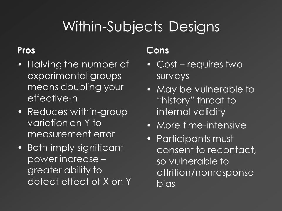 Within-Subjects Designs Pros Halving the number of experimental groups means doubling your effective-n Reduces within-group variation on Y to measurement error Both imply significant power increase – greater ability to detect effect of X on Y Cons Cost – requires two surveys May be vulnerable to history threat to internal validity More time-intensive Participants must consent to recontact, so vulnerable to attrition/nonresponse bias