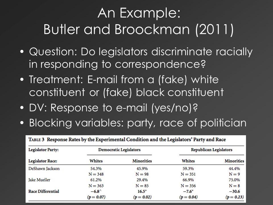 An Example: Butler and Broockman (2011) Question: Do legislators discriminate racially in responding to correspondence.