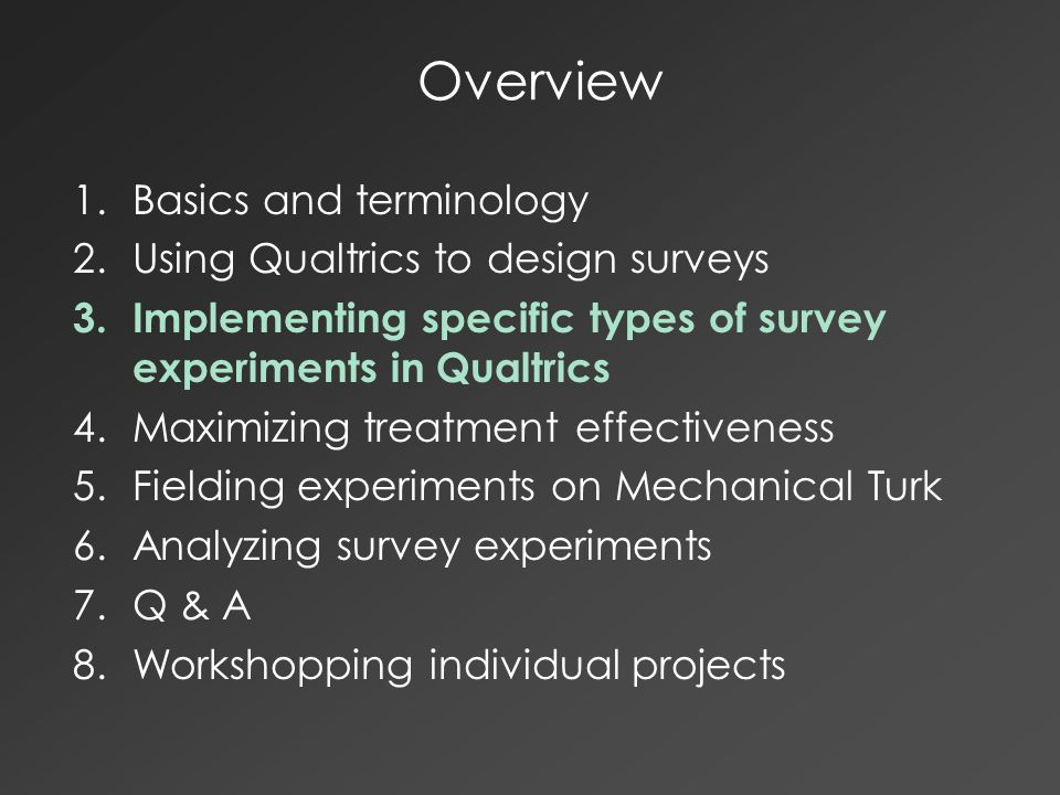 Classic Survey Experimental Techniques Traditionally used for improving measurement: –Question wording experiments –Question order experiments –List experiments for sensitive topics For any of these, the randomizer tool in Qualtrics survey flow is the easiest implementation