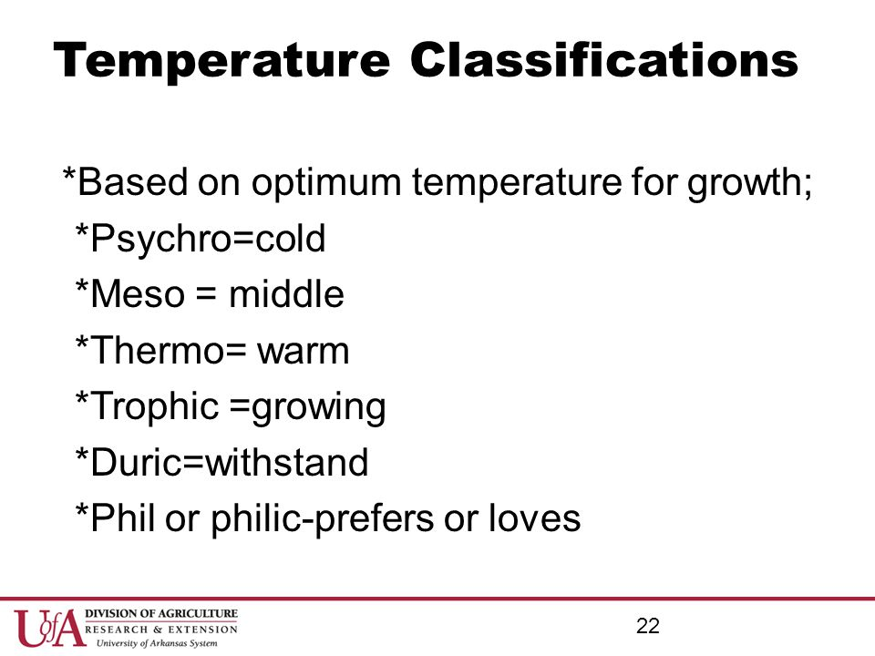 Temperature Classifications *Based on optimum temperature for growth; *Psychro=cold *Meso = middle *Thermo= warm *Trophic =growing *Duric=withstand *P