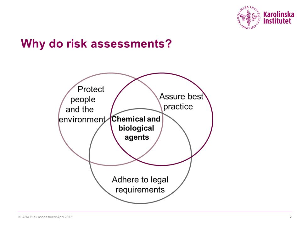 Why do risk assessments? KLARA Risk assessment April 20132