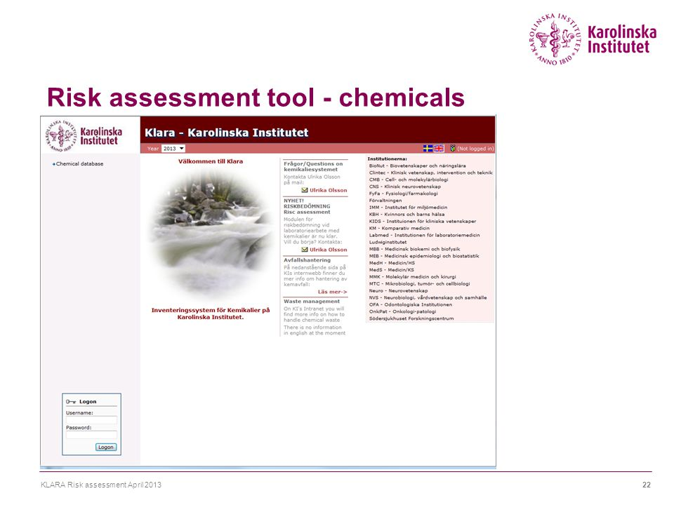 Risk assessment tool - chemicals KLARA Risk assessment April 201322