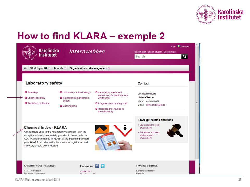 How to find KLARA – exemple 2 KLARA Risk assessment April 201327