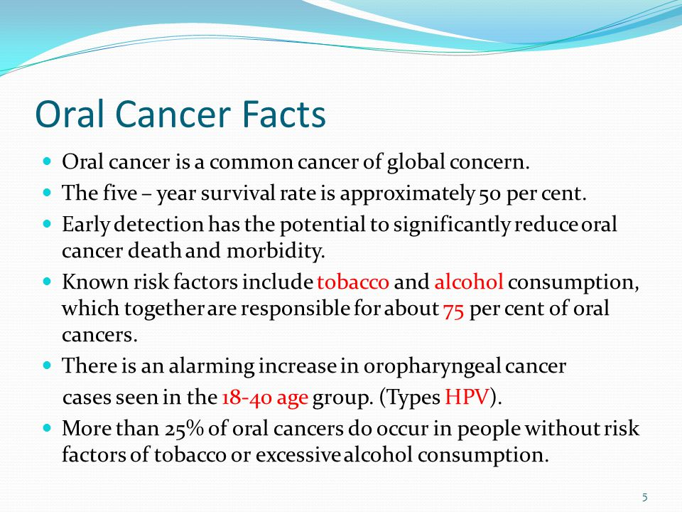 Oral Cancer Facts Oral cancer is a common cancer of global concern.