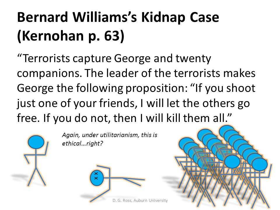 Bernard Williams's Kidnap Case (Kernohan p. 63) Terrorists capture George and twenty companions.