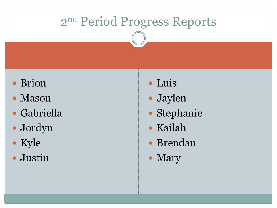 Brion Mason Gabriella Jordyn Kyle Justin Luis Jaylen Stephanie Kailah Brendan Mary 2 nd Period Progress Reports