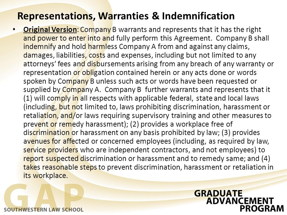 Representations, Warranties & Indemnification Original Version: Company B warrants and represents that it has the right and power to enter into and fu