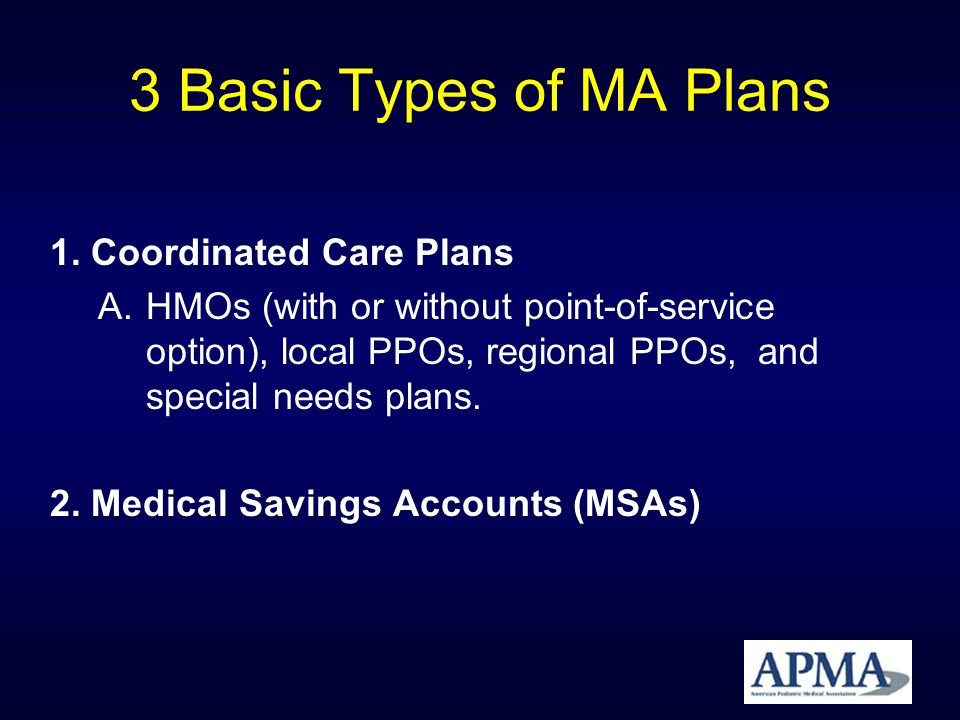 3 Basic Types of MA Plans 3.Private Fee for Service (PFFS) Plans A.