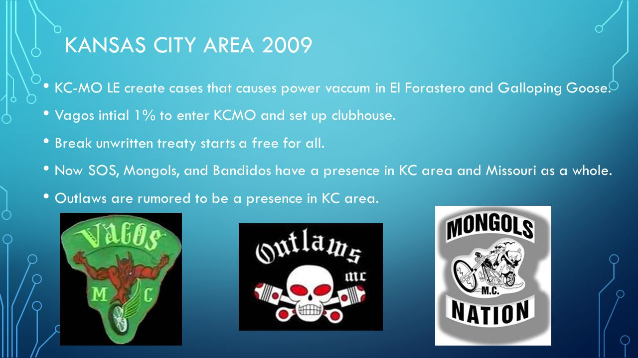 KANSAS CITY AREA 2009 KC-MO LE create cases that causes power vaccum in El Forastero and Galloping Goose. Vagos intial 1% to enter KCMO and set up clu