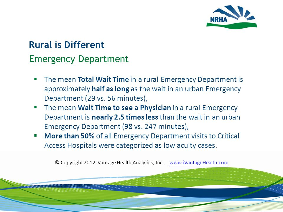 Rural is Different Emergency Department  The mean Total Wait Time in a rural Emergency Department is approximately half as long as the wait in an urban Emergency Department (29 vs.