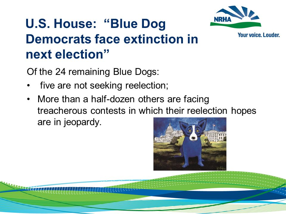 """U.S. House: """"Blue Dog Democrats face extinction in next election"""" Of the 24 remaining Blue Dogs: five are not seeking reelection; More than a half-doz"""