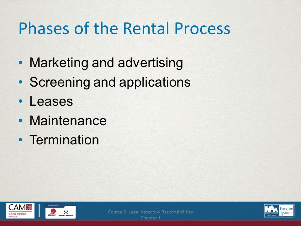 Course 2: Legal Aspects & Responsibilities Chapter 1 4 Phases of the Rental Process Marketing and advertising Screening and applications Leases Maintenance Termination