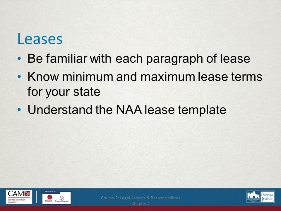 Course 2: Legal Aspects & Responsibilities Chapter 4 47 Nuisance: Brief Description The need for managers to respond appropriately to the potential for danger to residents.