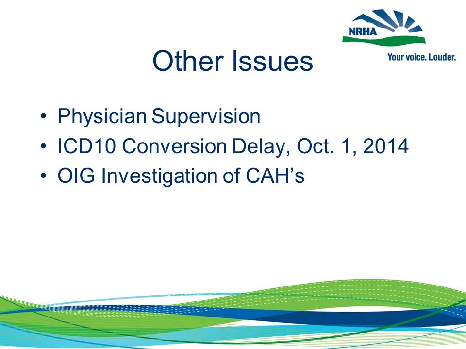 Other Issues Physician Supervision ICD10 Conversion Delay, Oct. 1, 2014 OIG Investigation of CAH's