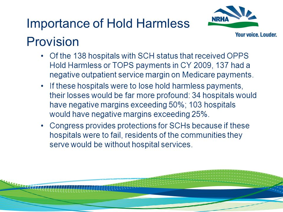Importance of Hold Harmless Provision Of the 138 hospitals with SCH status that received OPPS Hold Harmless or TOPS payments in CY 2009, 137 had a neg