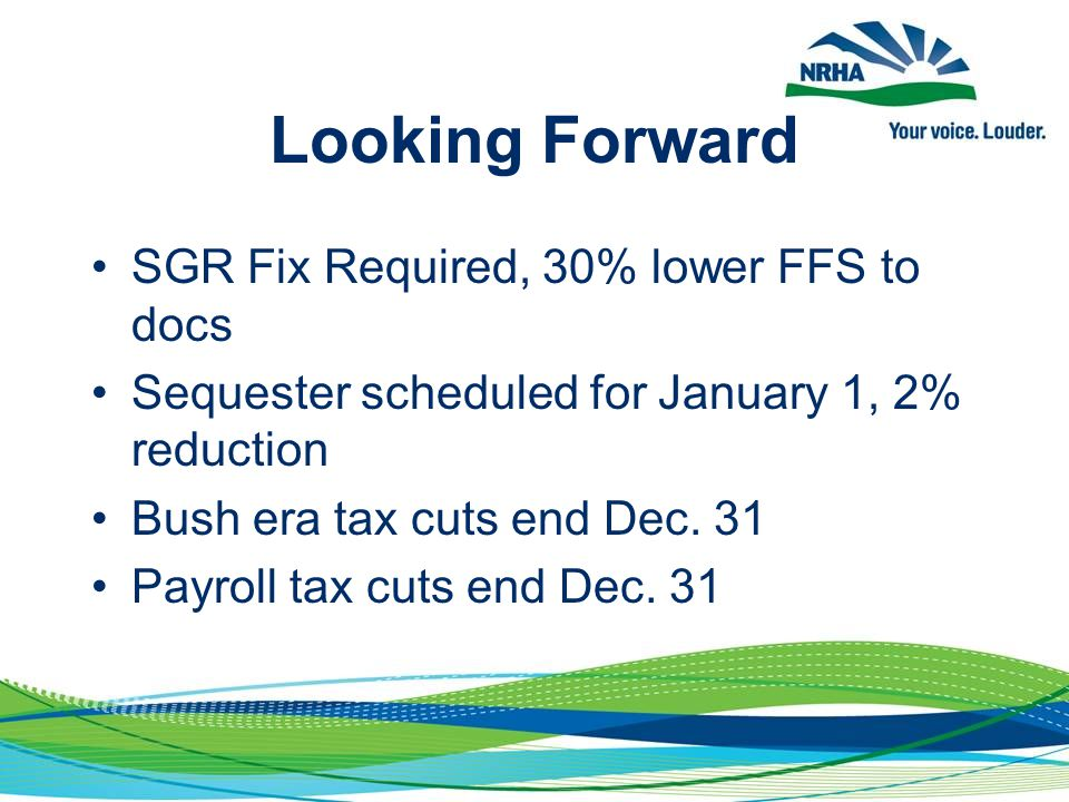 Looking Forward SGR Fix Required, 30% lower FFS to docs Sequester scheduled for January 1, 2% reduction Bush era tax cuts end Dec. 31 Payroll tax cuts