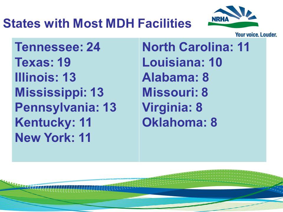 States with Most MDH Facilities Tennessee: 24 Texas: 19 Illinois: 13 Mississippi: 13 Pennsylvania: 13 Kentucky: 11 New York: 11 North Carolina: 11 Louisiana: 10 Alabama: 8 Missouri: 8 Virginia: 8 Oklahoma: 8