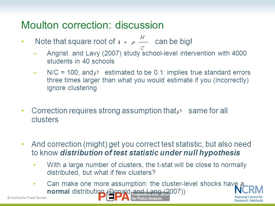 Moulton correction: discussion Note that square root of can be big.