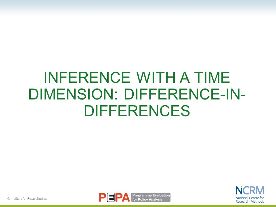 © Institute for Fiscal Studies INFERENCE WITH A TIME DIMENSION: DIFFERENCE-IN- DIFFERENCES