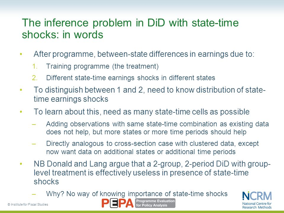 © Institute for Fiscal Studies The inference problem in DiD with state-time shocks: in words After programme, between-state differences in earnings due to: 1.Training programme (the treatment) 2.Different state-time earnings shocks in different states To distinguish between 1 and 2, need to know distribution of state- time earnings shocks To learn about this, need as many state-time cells as possible –Adding observations with same state-time combination as existing data does not help, but more states or more time periods should help –Directly analogous to cross-section case with clustered data, except now want data on additional states or additional time periods NB Donald and Lang argue that a 2-group, 2-period DiD with group- level treatment is effectively useless in presence of state-time shocks –Why.