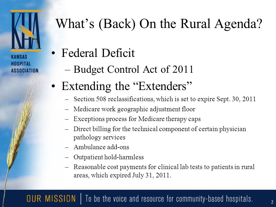 "What's (Back) On the Rural Agenda? Federal Deficit –Budget Control Act of 2011 Extending the ""Extenders"" –Section 508 reclassifications, which is set"