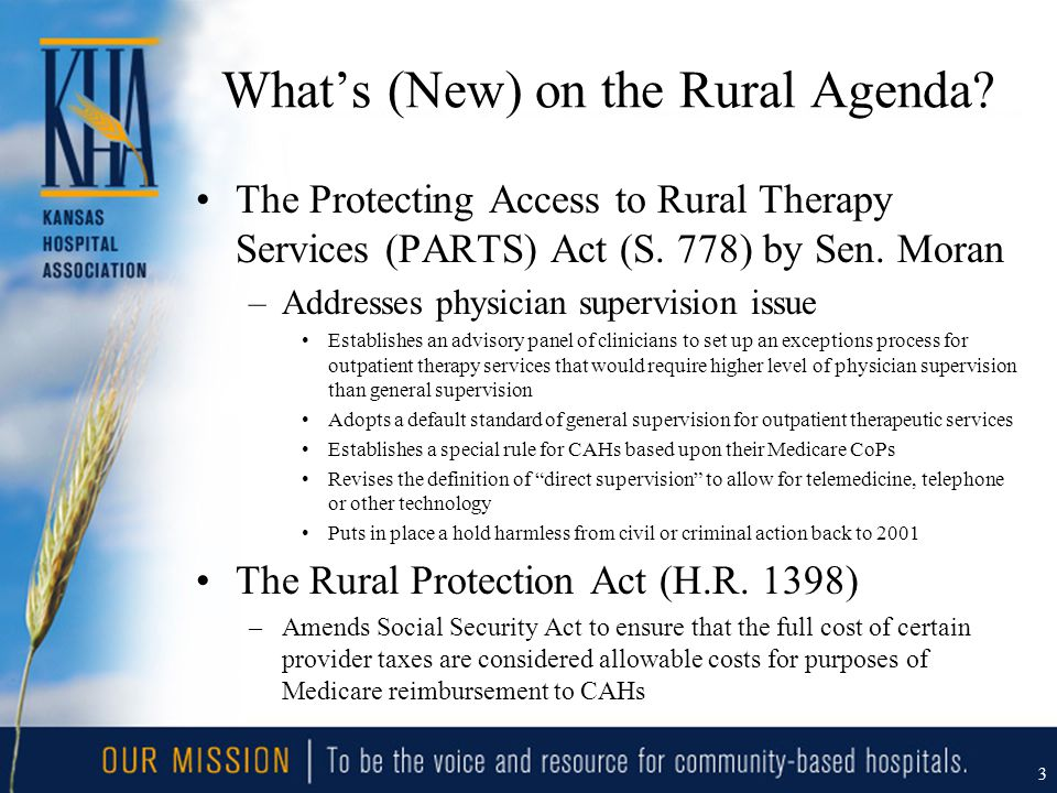 What's (New) on the Rural Agenda. The Protecting Access to Rural Therapy Services (PARTS) Act (S.