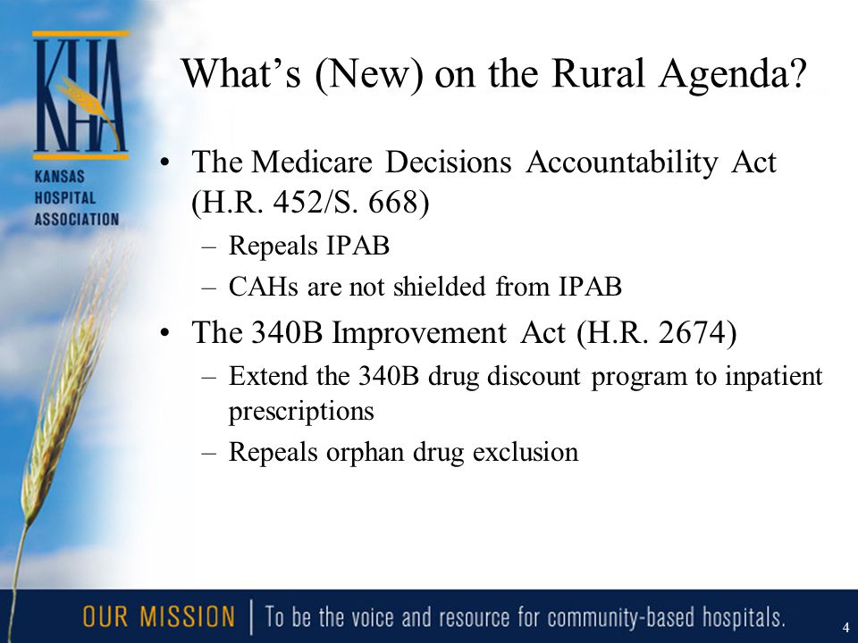 What's (New) on the Rural Agenda? The Medicare Decisions Accountability Act (H.R. 452/S. 668) –Repeals IPAB –CAHs are not shielded from IPAB The 340B