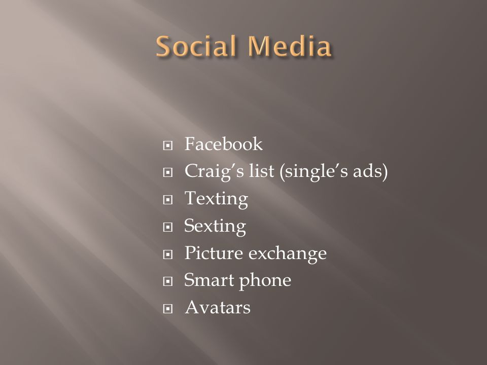 Facebook  Craig's list (single's ads)  Texting  Sexting  Picture exchange  Smart phone  Avatars