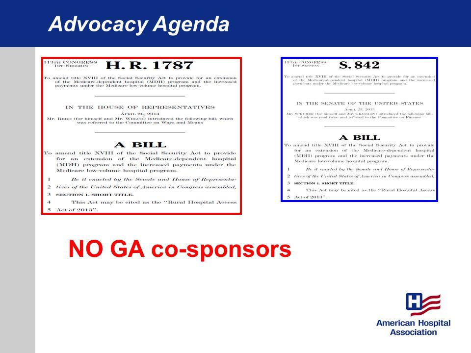 Advocacy Agenda NO GA co-sponsors