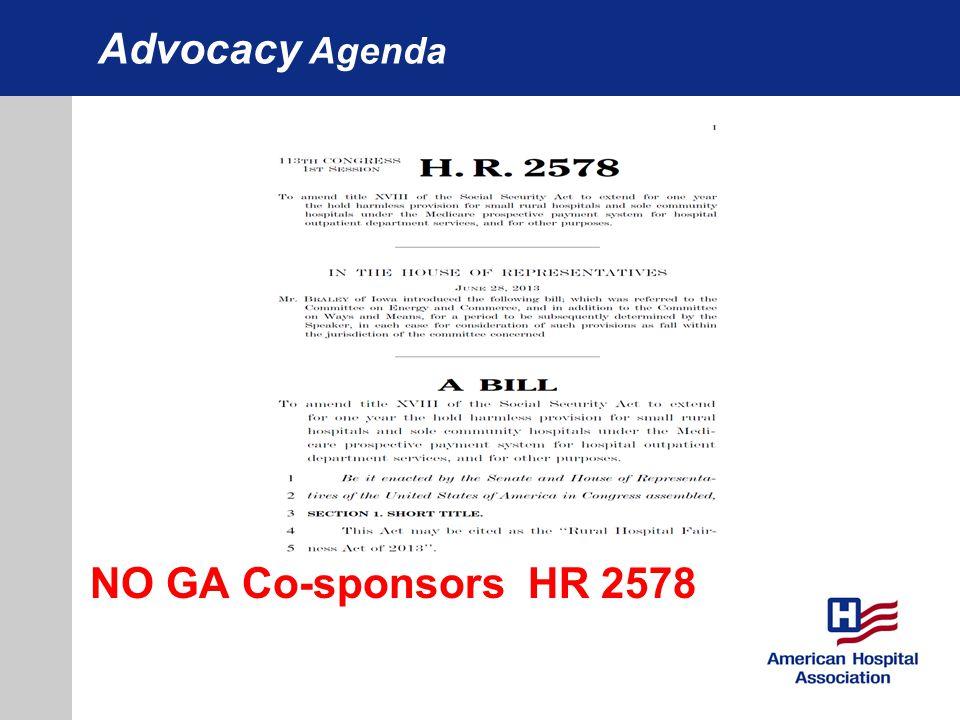 Advocacy Agenda NO GA Co-sponsors HR 2578