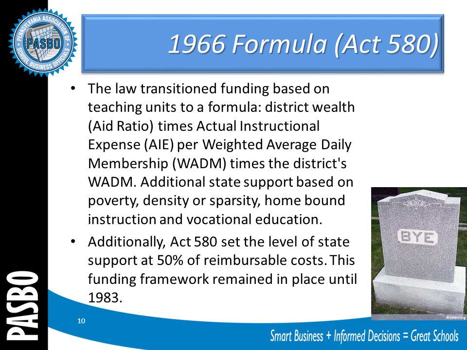 1966 Formula (Act 580) The law transitioned funding based on teaching units to a formula: district wealth (Aid Ratio) times Actual Instructional Expen