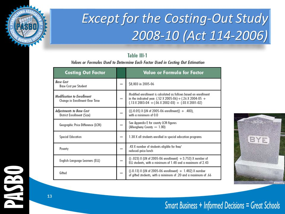 Except for the Costing-Out Study 2008-10 (Act 114-2006) 13