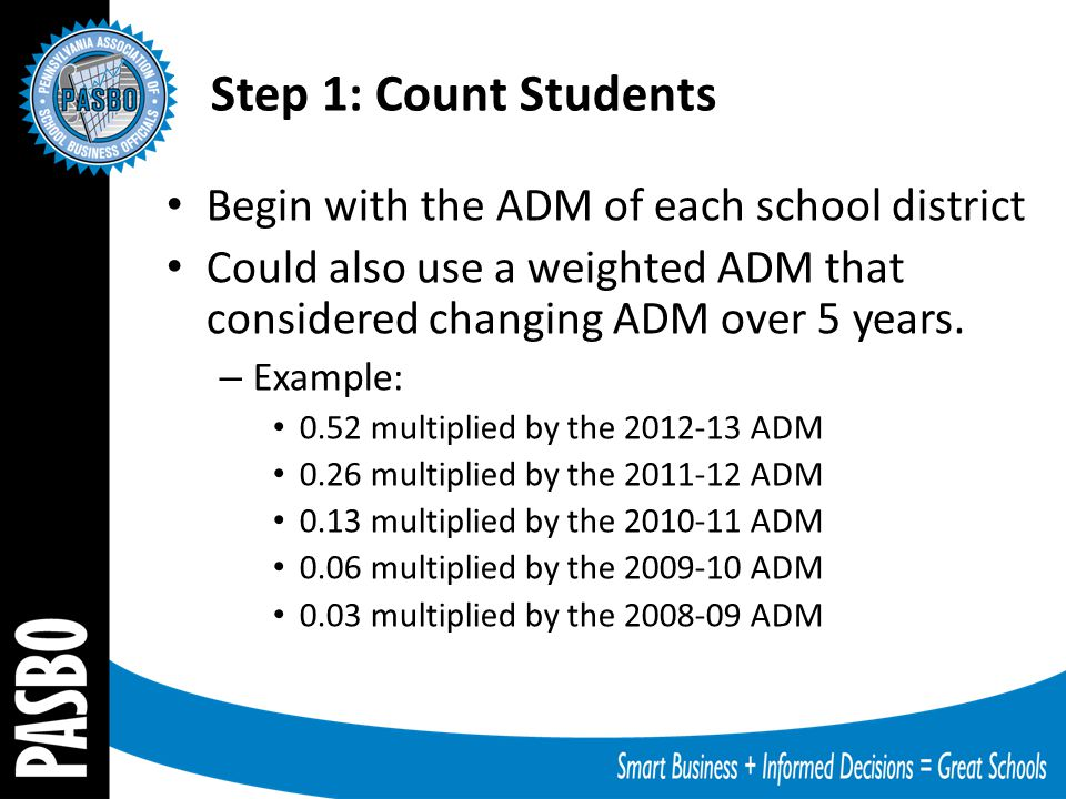 Begin with the ADM of each school district Could also use a weighted ADM that considered changing ADM over 5 years. – Example: 0.52 multiplied by the